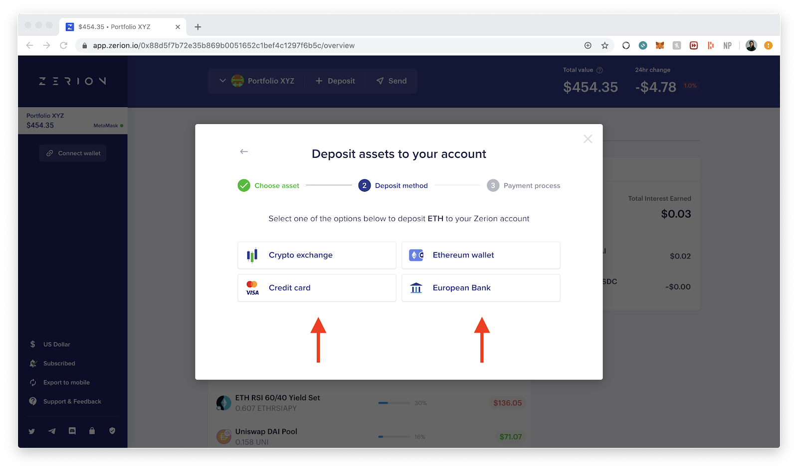 Deposit ETH directly on Zerion