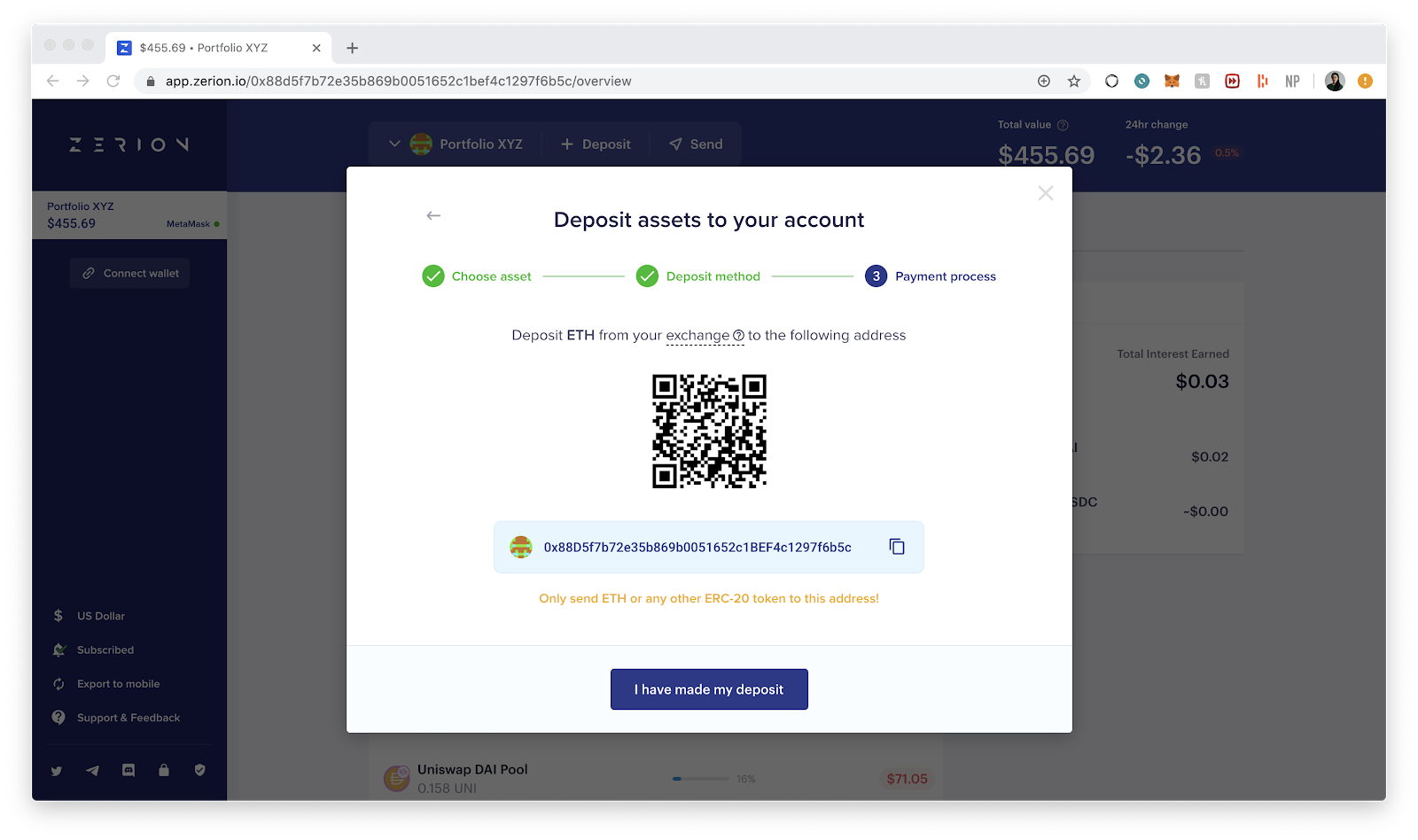 Copy your wallet address from Zerion
