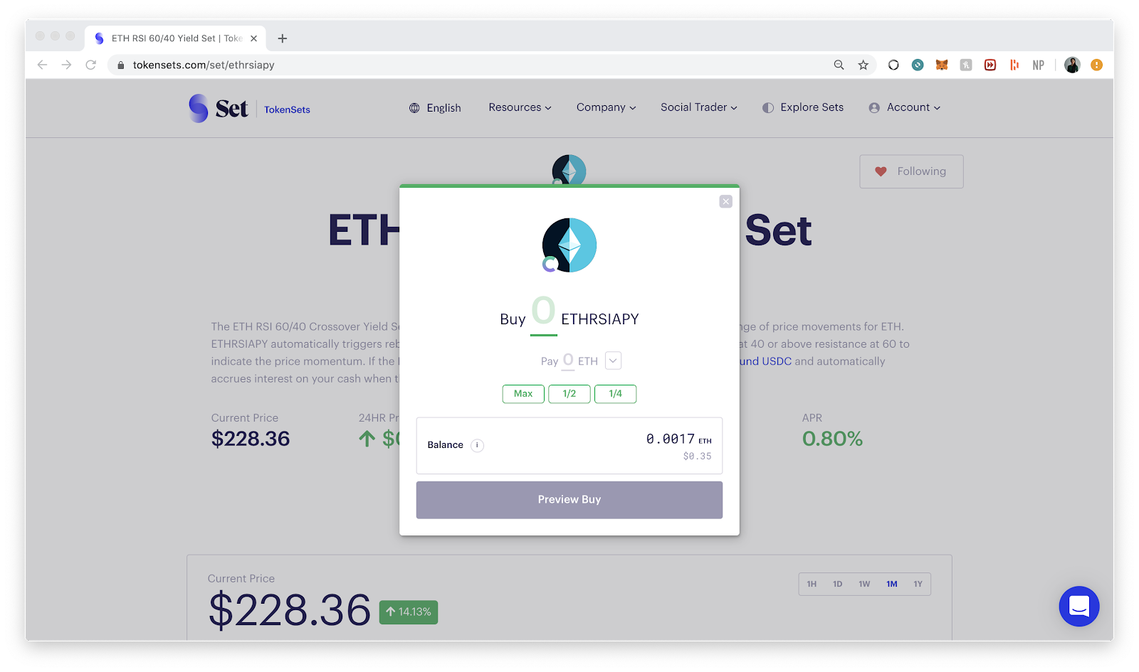 Buying on TokenSets