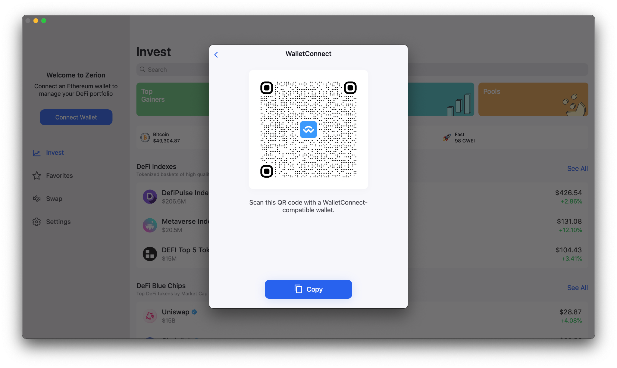 How do I connect my wallet to Zerion macOS and iPad?