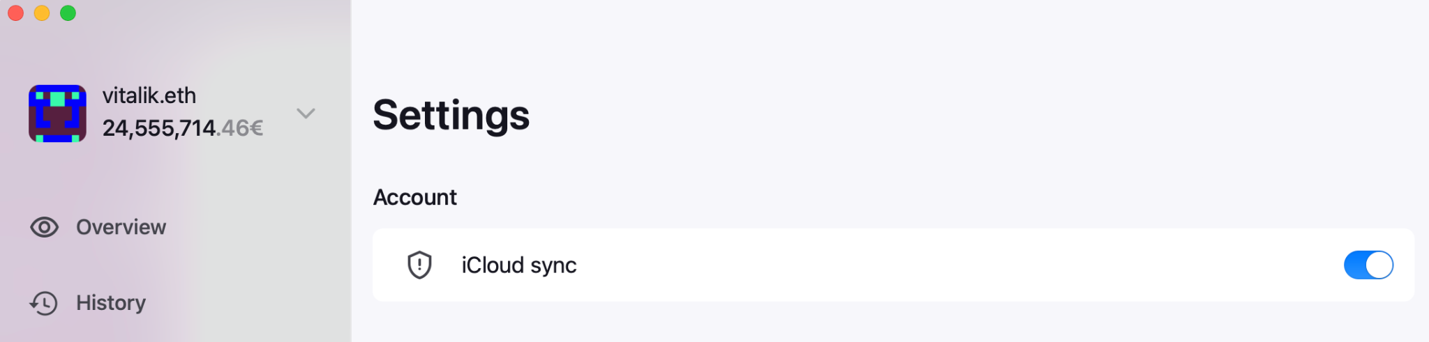 Zerion iCloud Sync